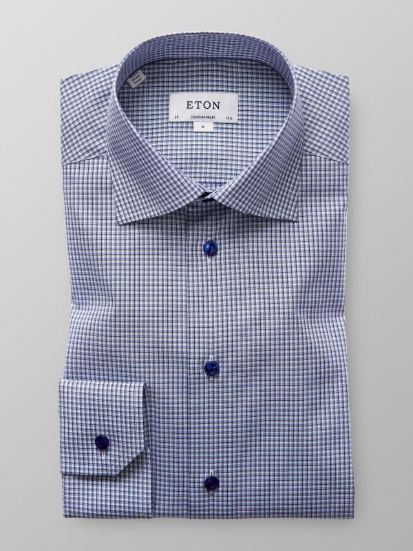 Blue Check Poplin Shirt