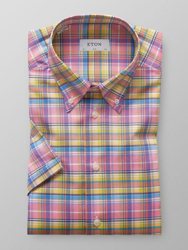 Multi-Coloured Short Sleeve Check Shirt