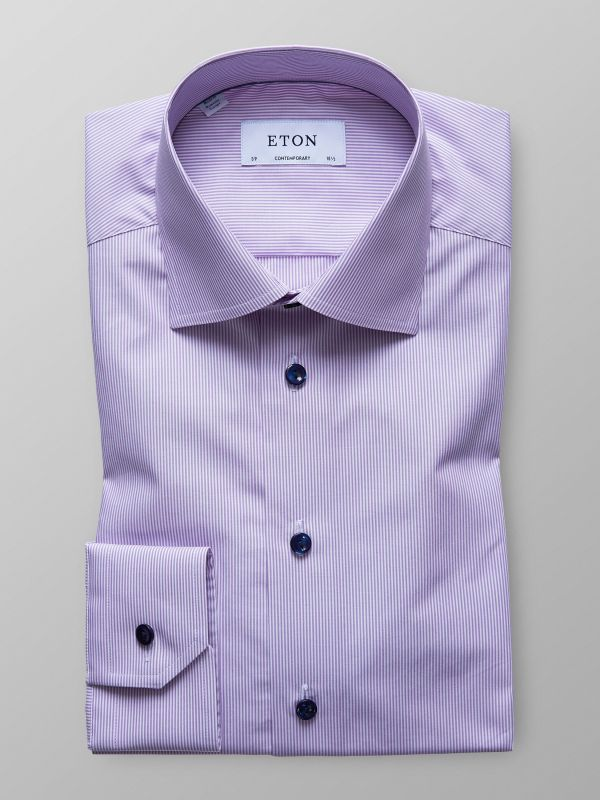 Purple Fine Striped Poplin Shirt