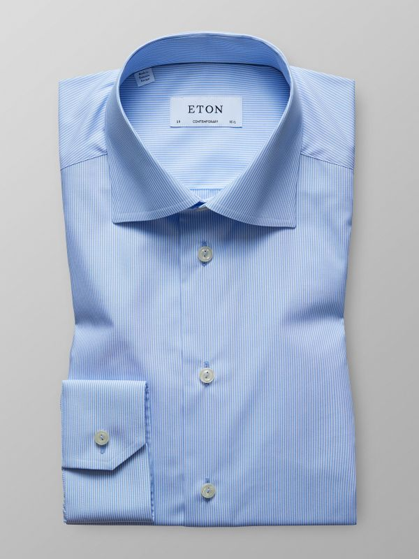 Sky Blue Fine Striped Shirt