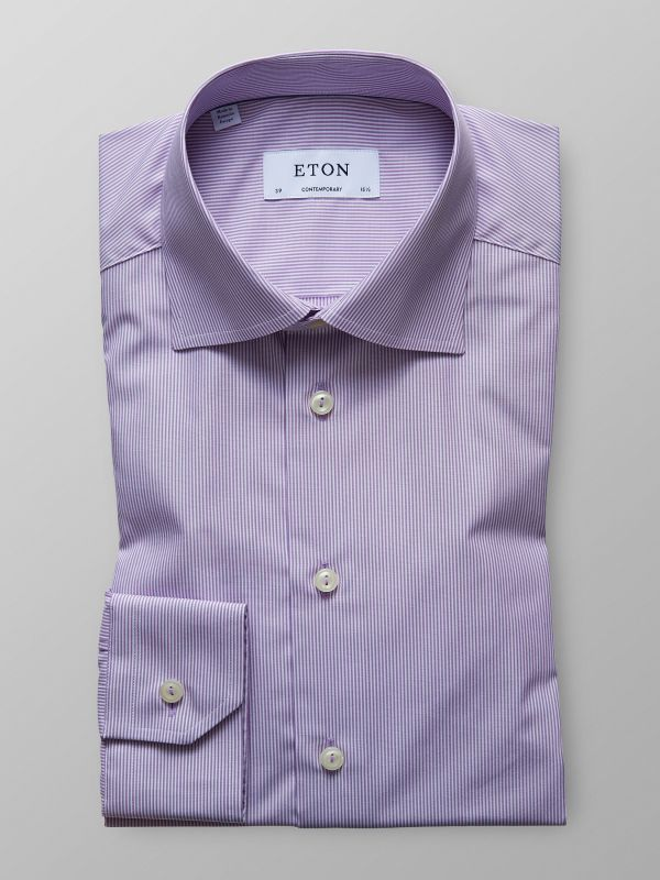 Purple Striped Poplin Shirt