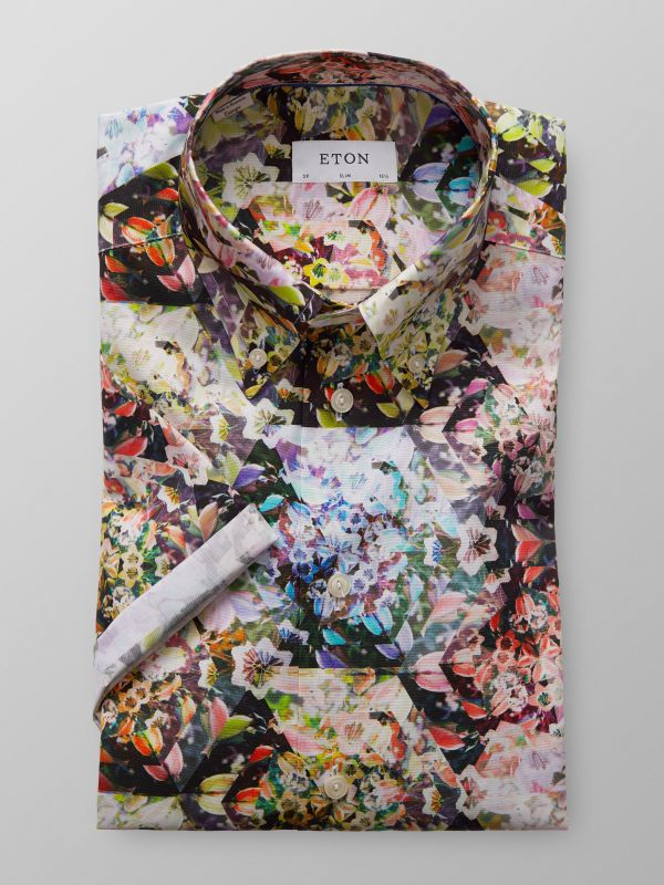 Multi-Coloured Short Sleeve Floral Shirt