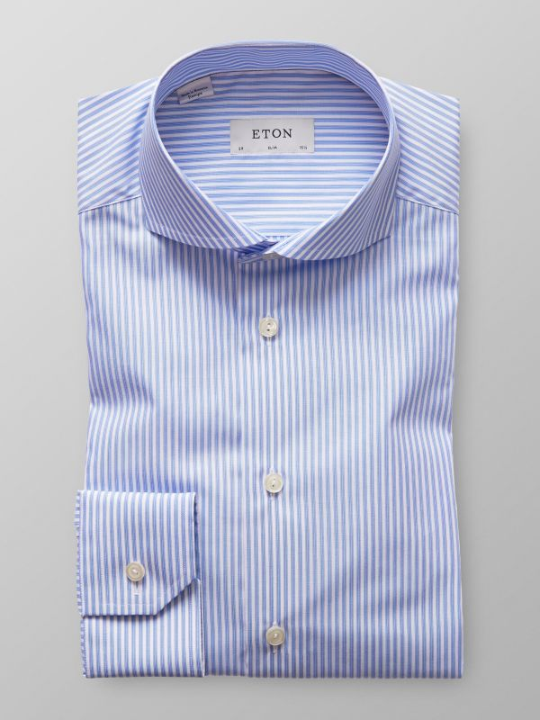 Blue Bold Striped Poplin Shirt