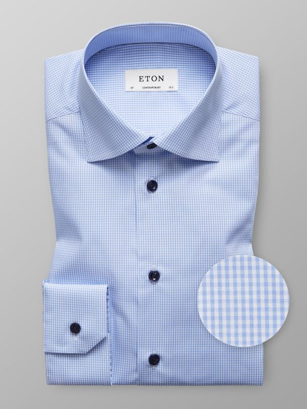 Fine Check Blue Buttons Shirt