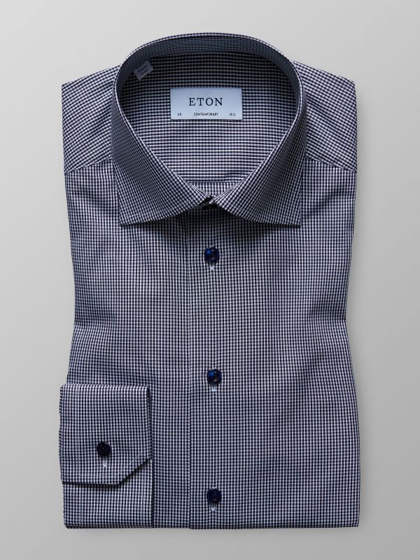 Navy Fine Check Poplin Shirt