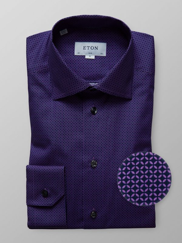 Purple Geometric Poplin Shirt