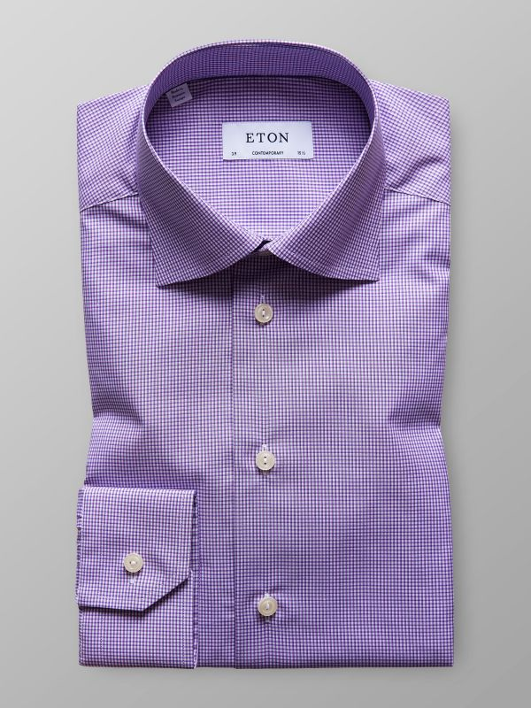 Purple Check Poplin Shirt