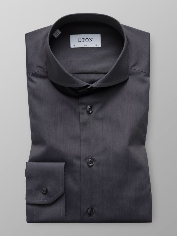 Dark Grey Poplin Shirt