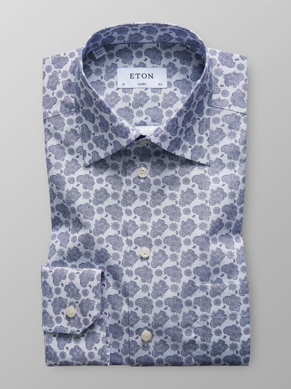 White & Blue Paisley Shirt