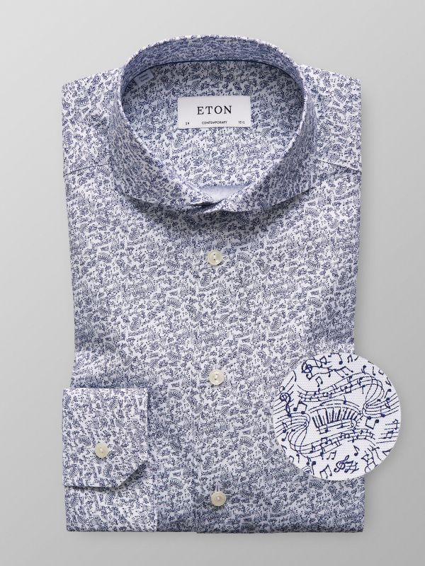 Clavier and notes printed shirt
