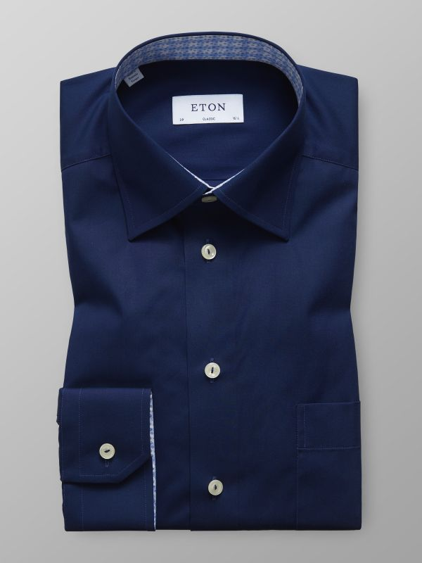 Navy Poplin Trim Details Shirt