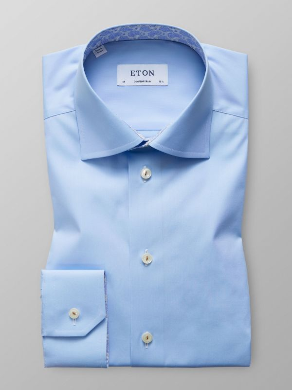 Blue poplin shirt with trim details