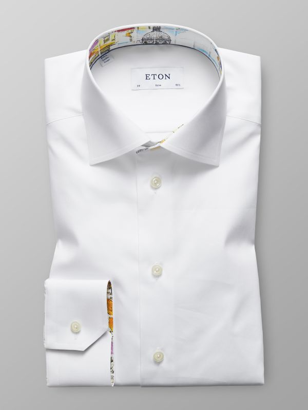 White Shirt With Skyline of Lisbon Print