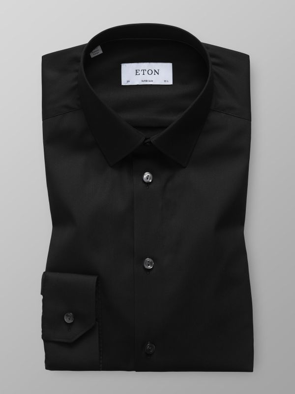 Black Plain Poplin Shirt