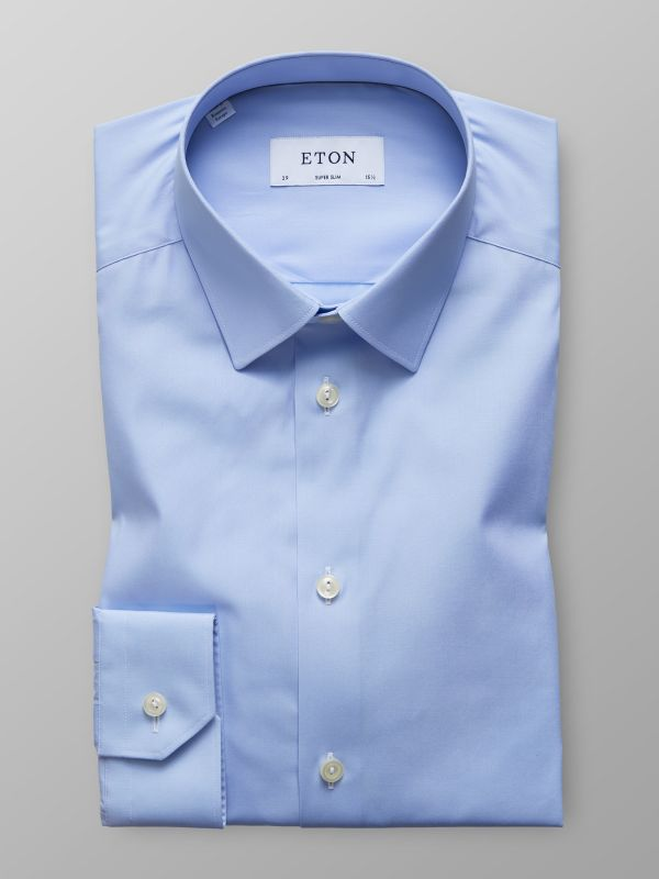 Blue Plain Poplin Shirt