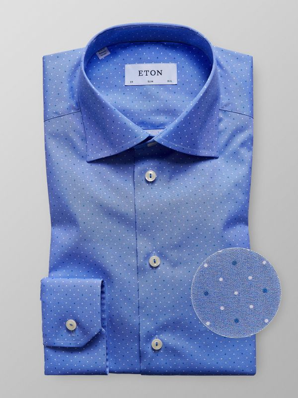 Blue Dotted Poplin Shirt