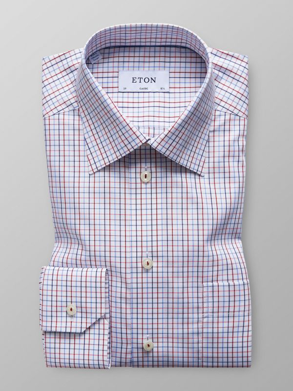 Orange Checked Poplin Shirt