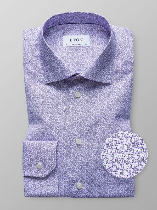 Purple Floral Poplin Shirt