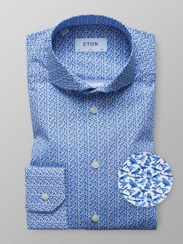 Blue Subtle Bird Print Shirt