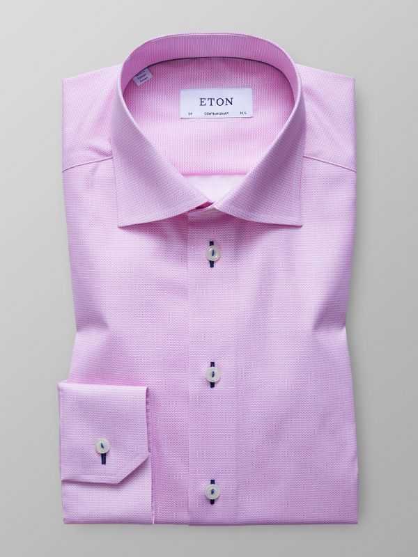 Pink Poplin Shirt With Trim Details