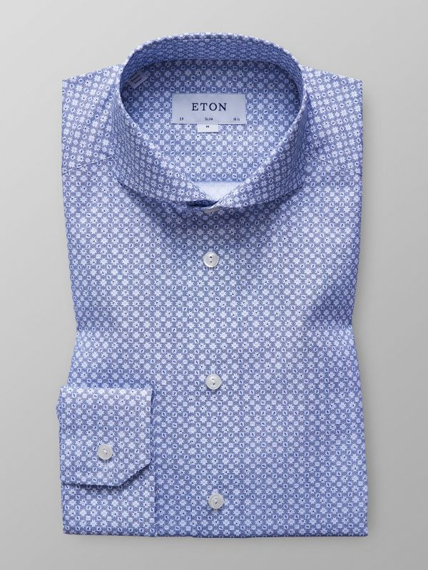 Blue Geometrical Poplin Shirt