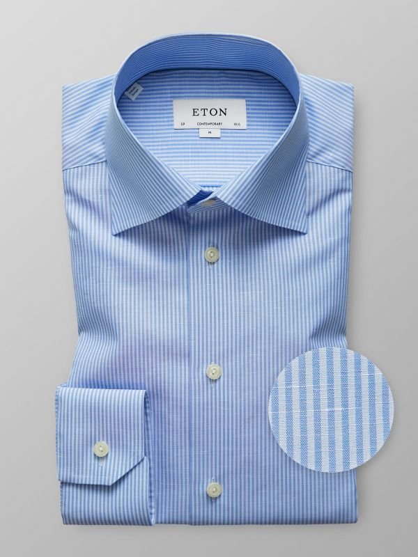 Blue Striped Cotton & Linen Shirt