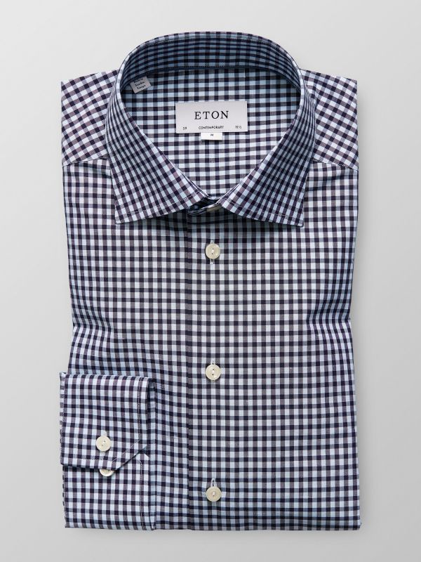 Blue Gingham Cotton & Linen Shirt