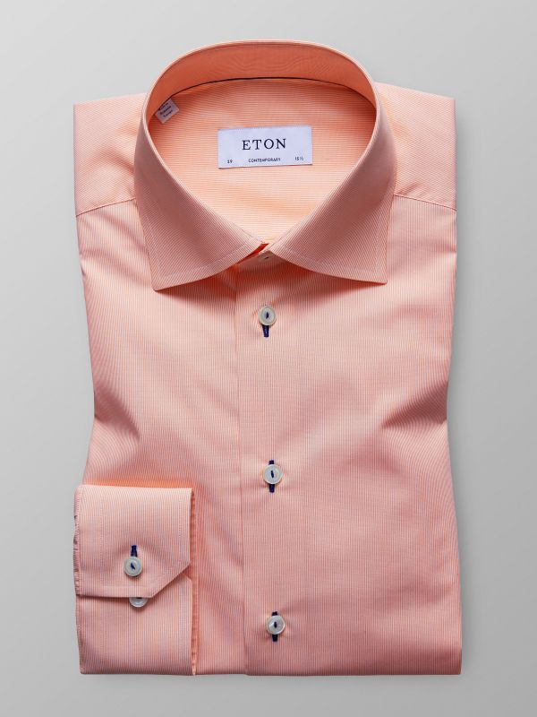 Orange Fine Striped Poplin Shirt