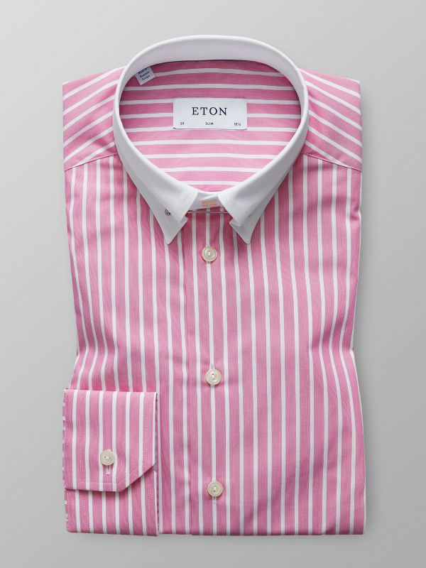 Pink Striped White Collar Shirt