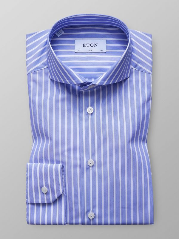 Blue Striped Poplin Shirt