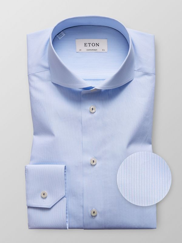 Blue Fine Striped Poplin Shirt