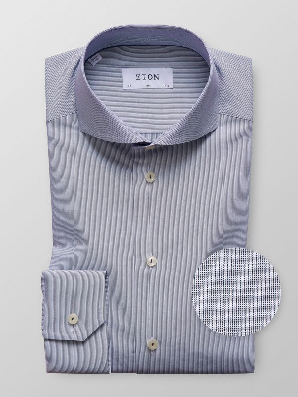 Navy Fine Striped Poplin Shirt