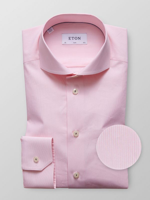 Pink Fine Striped Poplin Shirt