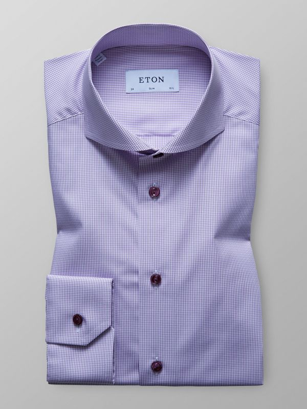 Purple Checked Poplin Shirt