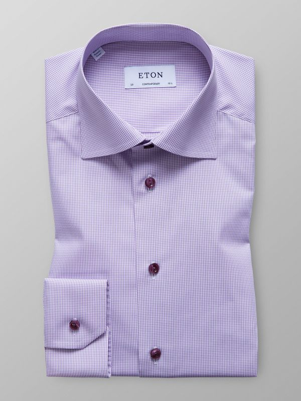 Purple Fine Check Poplin Shirt