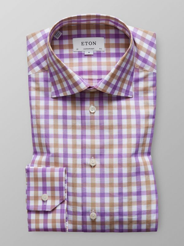 Purple Check Cotton & Linen Shirt