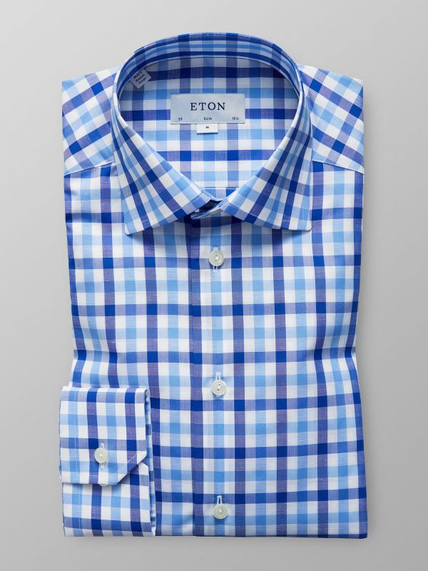 Blue Check Cotton & Linen Shirt