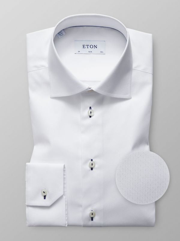 White Geometric Poplin Shirt