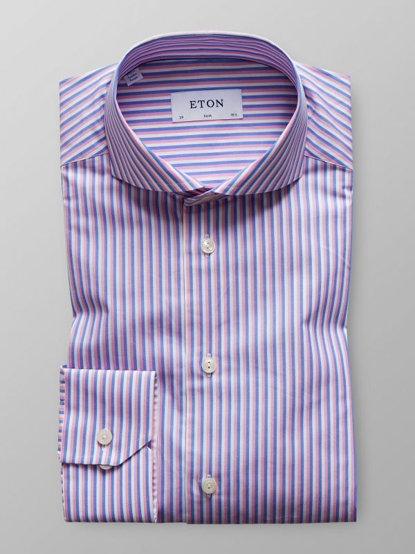 Pink & Blue Striped Poplin Shirt