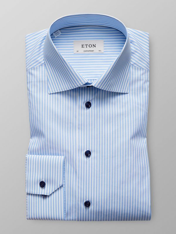 Blue Striped Navy Buttons Shirt