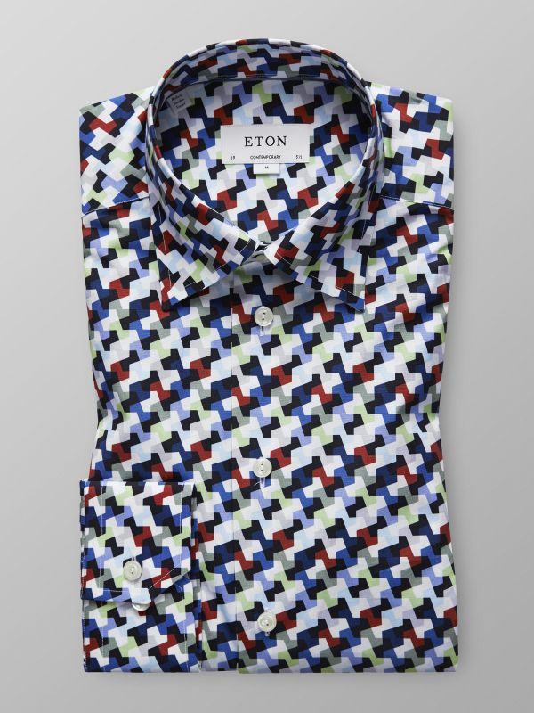Multi-Colour Geometric Print Shirt