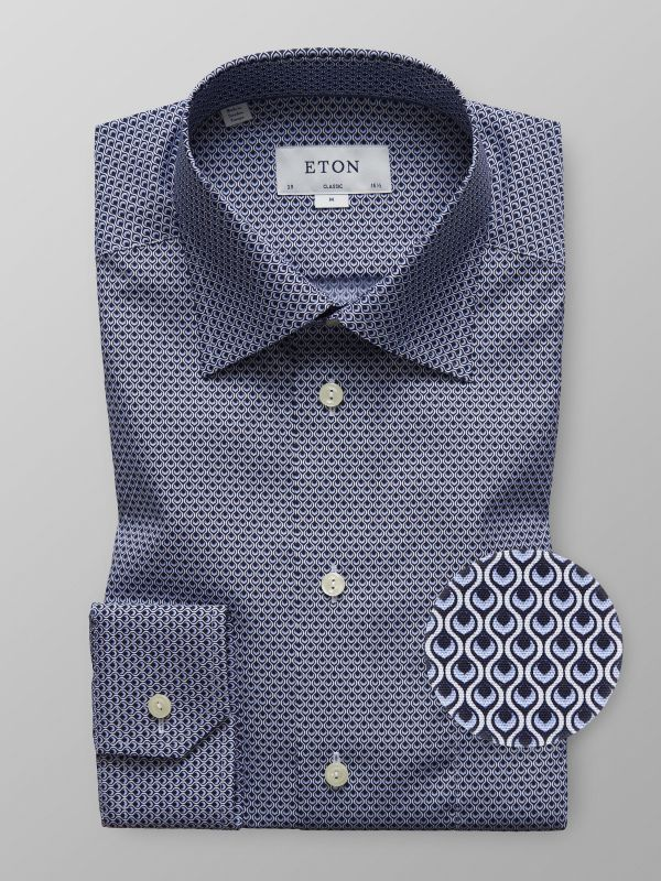 Blue Geometric Print Shirt