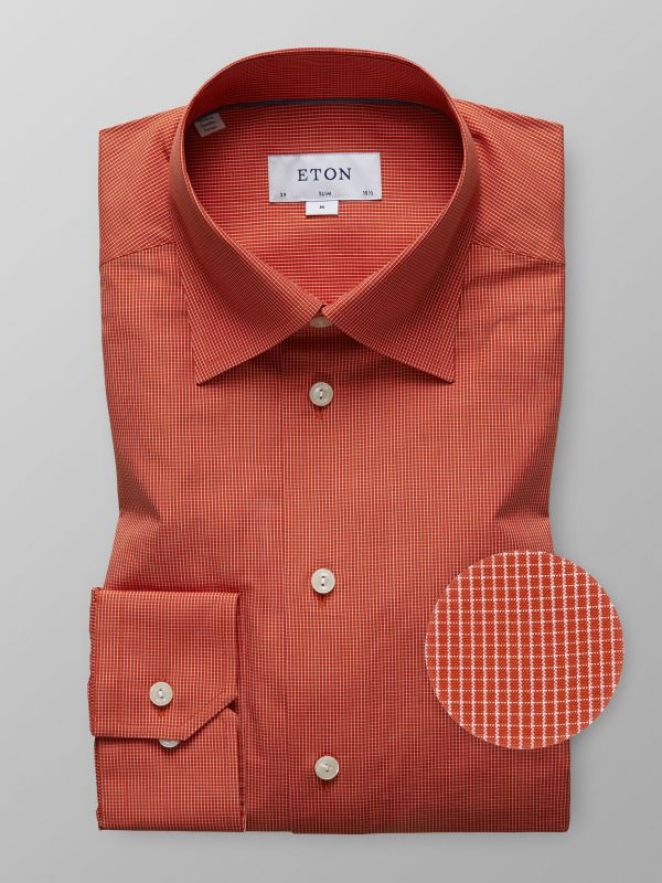 Orange Micro Check Shirt