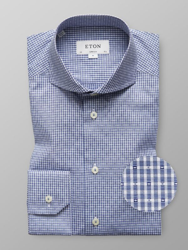 Navy Check Micro Weave Shirt