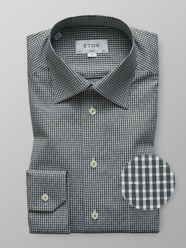 Green Check Micro Weave Shirt