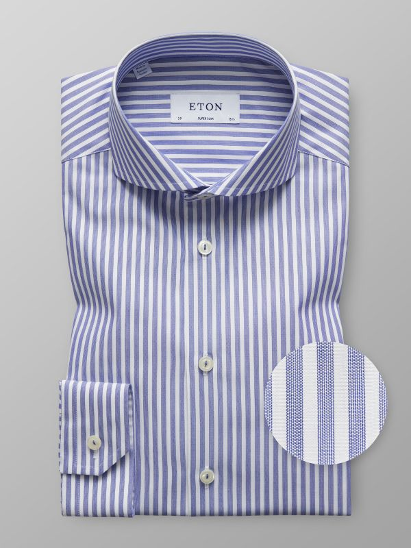 Blue & White Bold Striped Shirt