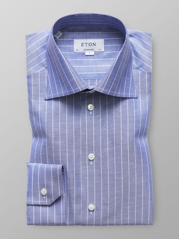 Navy Striped Cotton & Linen Shirt