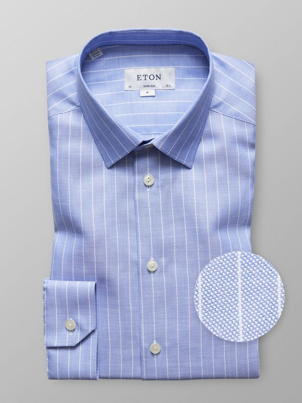 Blue & White Striped Cotton & Linen Shirt