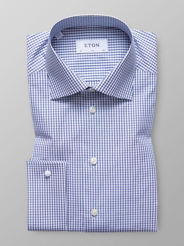 Navy Check French Cuff Shirt