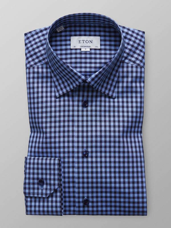 Navy Check Button Under Shirt